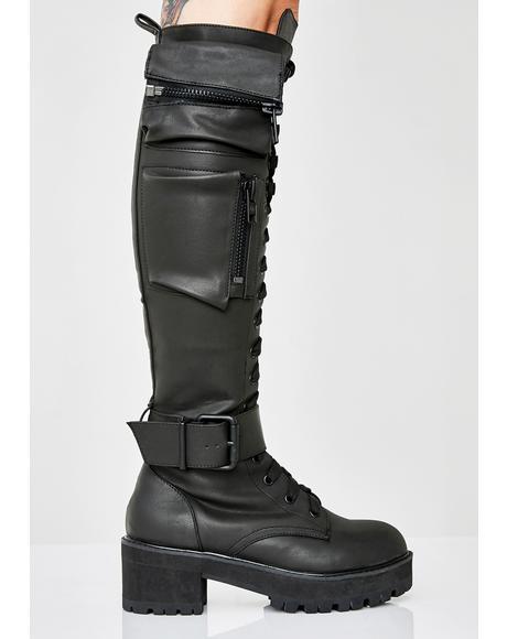 Obsidian Pocket Combat Boots