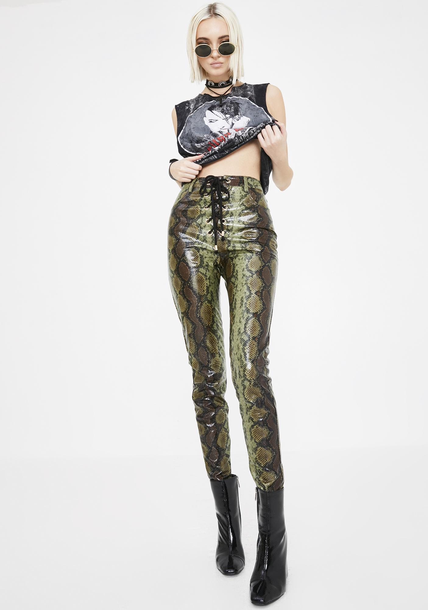 Jagger & Stone Lily Snakeskin Lace Up Pants