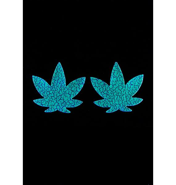 Neva Nude Glow In The Dark Weed Leaf Pasties
