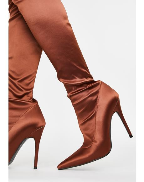 Liquid Satin Knee High Boots