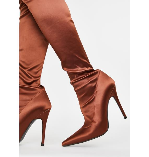 Public Desire Liquid Satin Knee High Boots