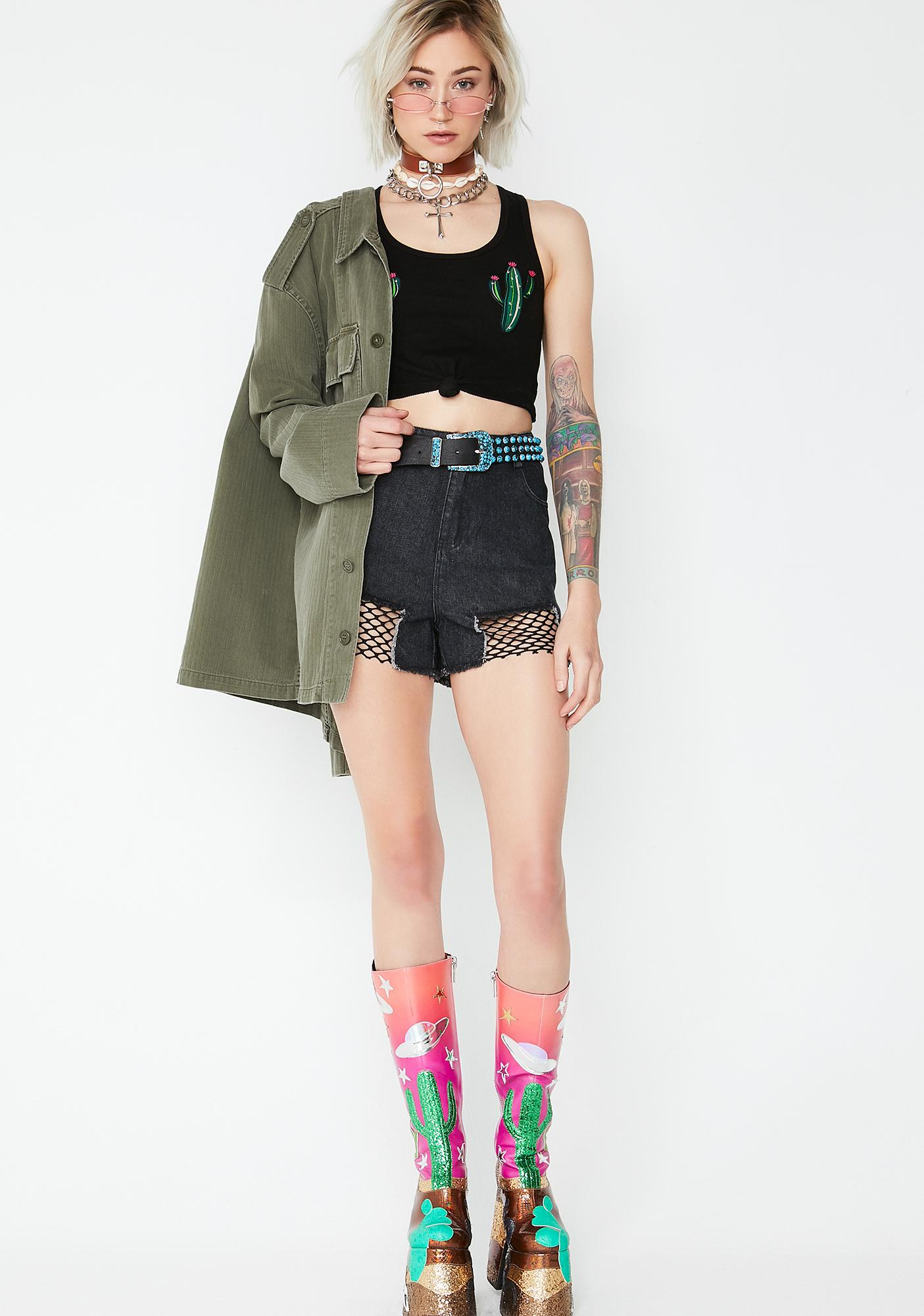 Line Of Attack Denim Shorts