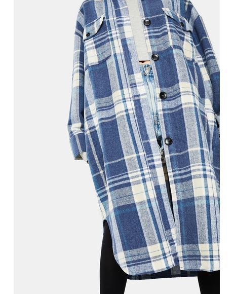 Blue Plaid Long Jacket