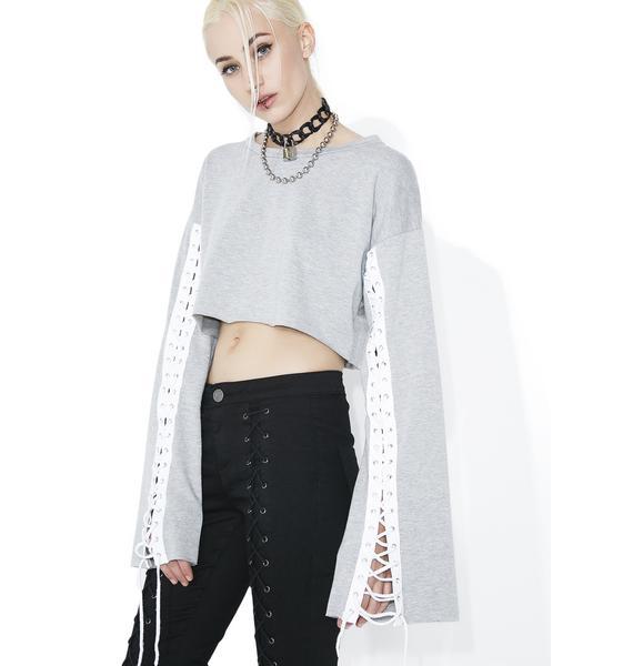 Smoke Finish Line Lace-Up Sweatshirt