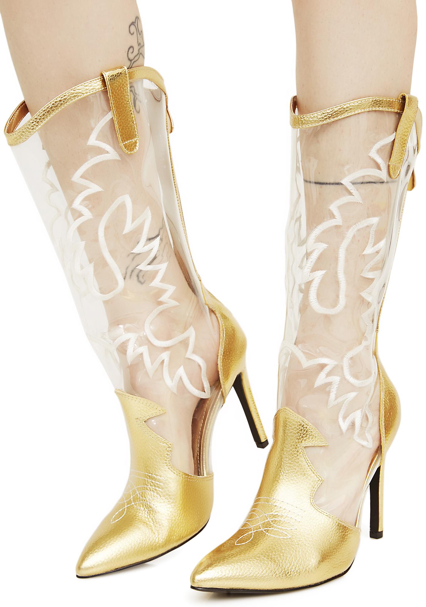 Clear Metallic Gold Cowboy Boots