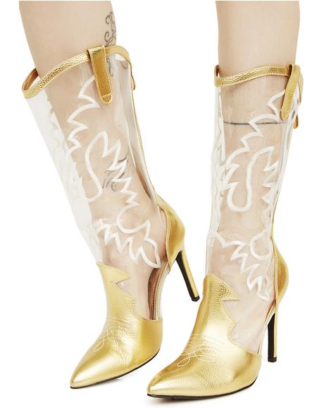 clear metallic pink cowboy boots dolls kill
