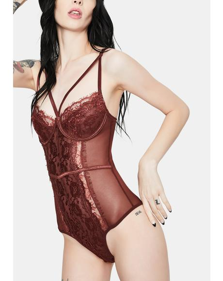 Burgundy Wait For Me Lace Teddy