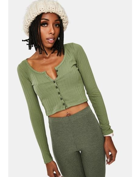 Sage Make My Life Button Up Top