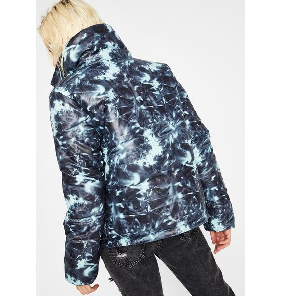 Watercolor Cosmos Tie Dye Puffer Jacket