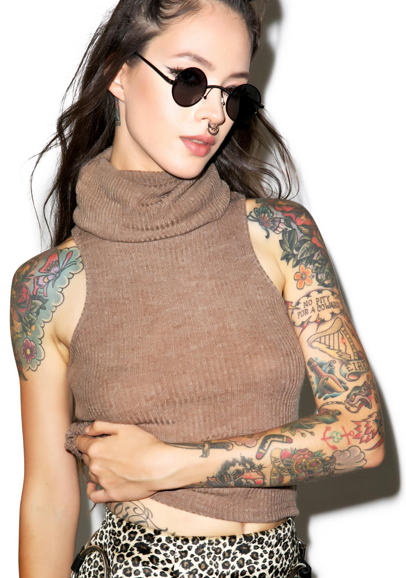 Glamorous In Luv With Da Cocoa Cowl Top