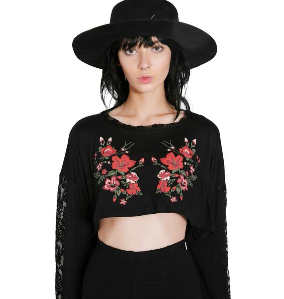 All In Bloom Lace Floral Crop Top