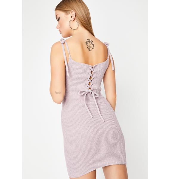 We're Through Lace-Up Dress