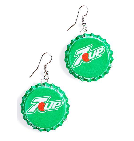 Seven Up Bottle Cap Earrings