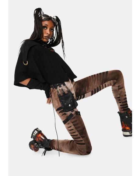 Steampunk Detachable Waist Bag Leggings
