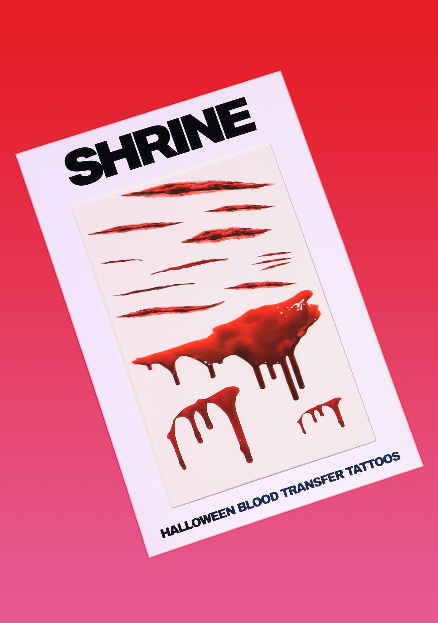 SHRINE Halloween Blood Transfer Tattoos