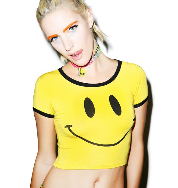 O Mighty Smiley Ringer Crop Tee