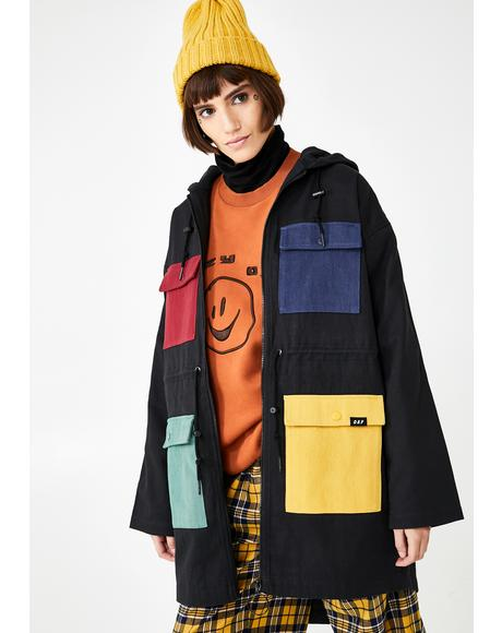 Colour Pocket Parka Coat