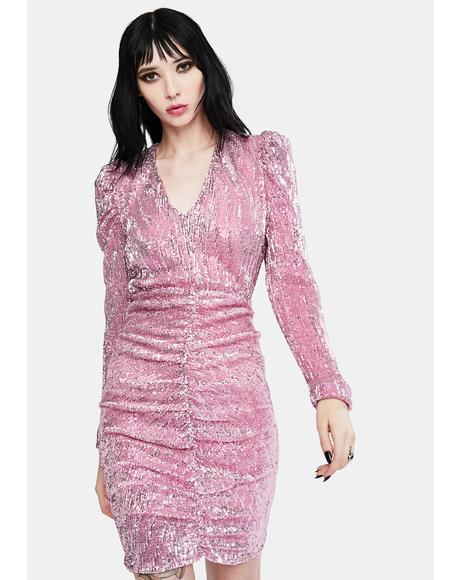 Pink Pleated Sequin Dress