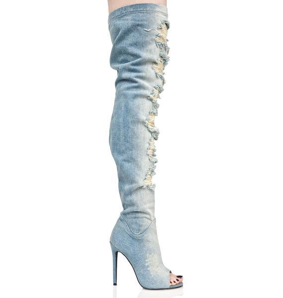 Privileged Darling Distressed Denim Thigh-High Boots