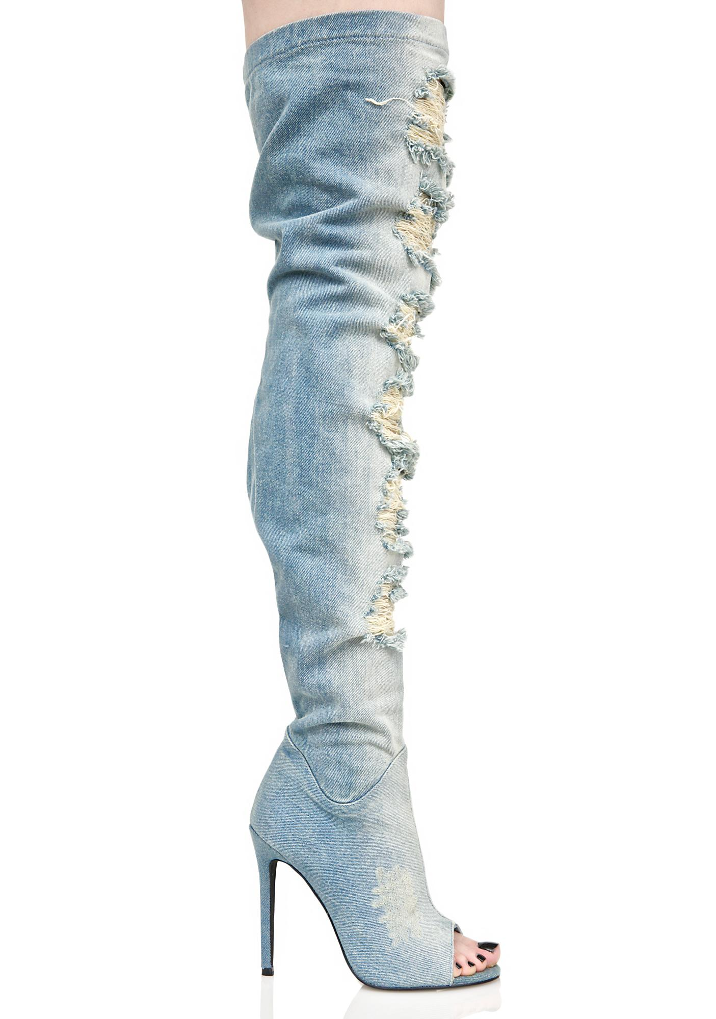 Privileged Darling Distressed Denim Thigh-High Boots