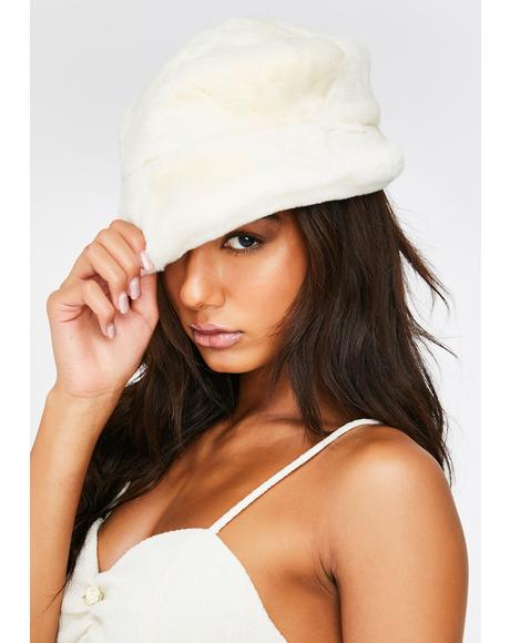 Cream Faux Fur Bucket Hat