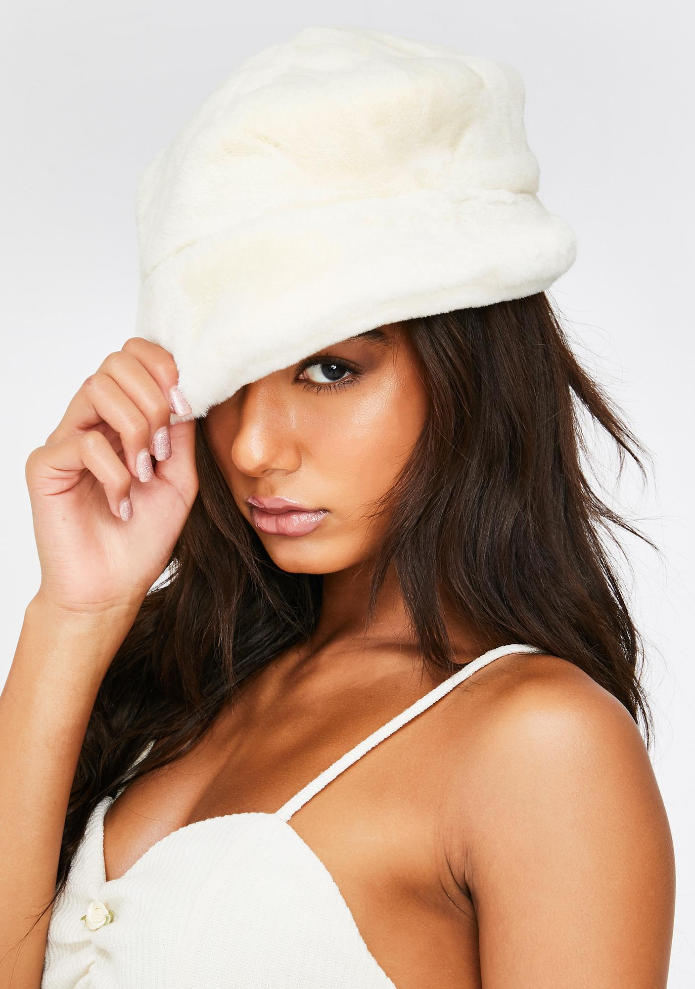 My Mum Made It Cream Faux Fur Bucket Hat
