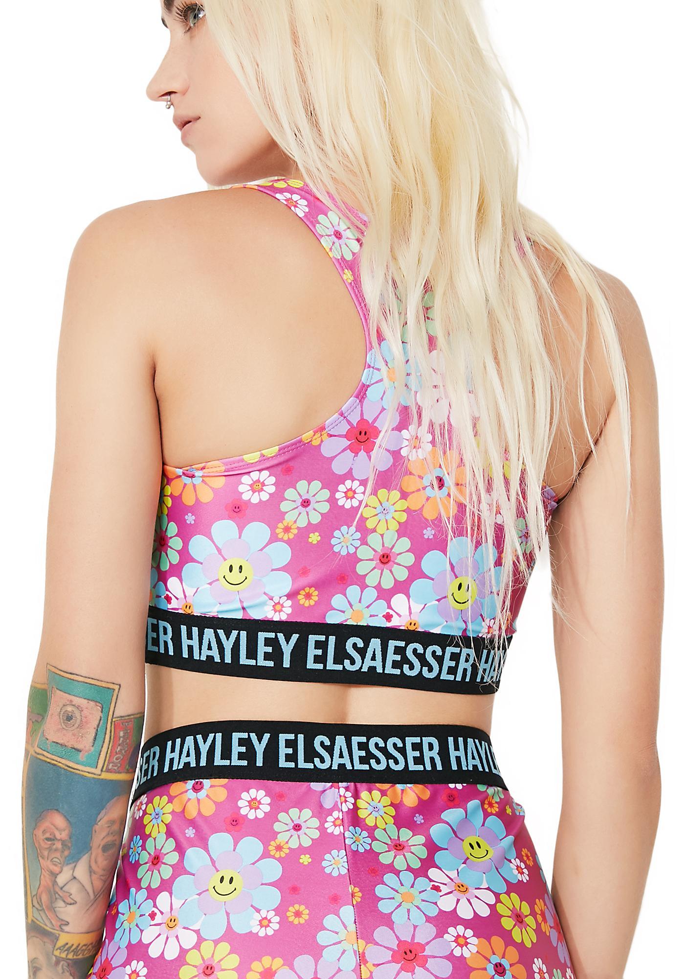 Hayley Elsaesser Flower Smiley Face Sports Bra