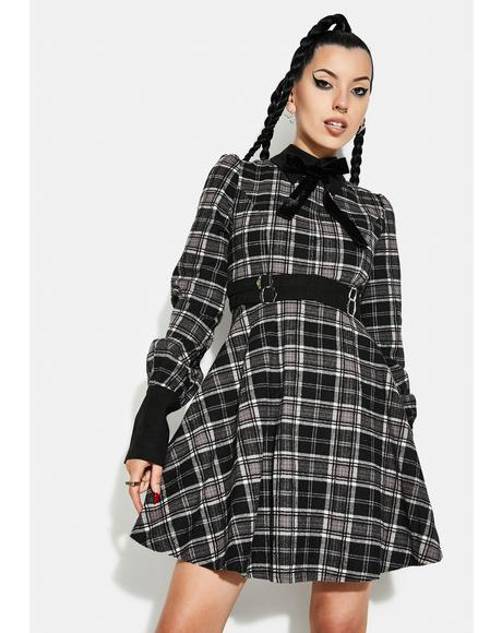 Grunge Puff Sleeve Plaid Dress