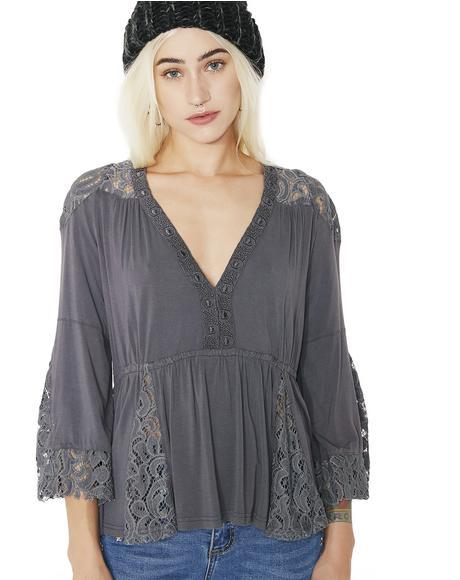 Dark Gypsy Flowy Lace Top