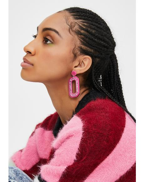 Pink Mega Gem Earrings
