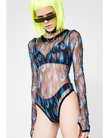 Electric Fire Sheer Bodysuit