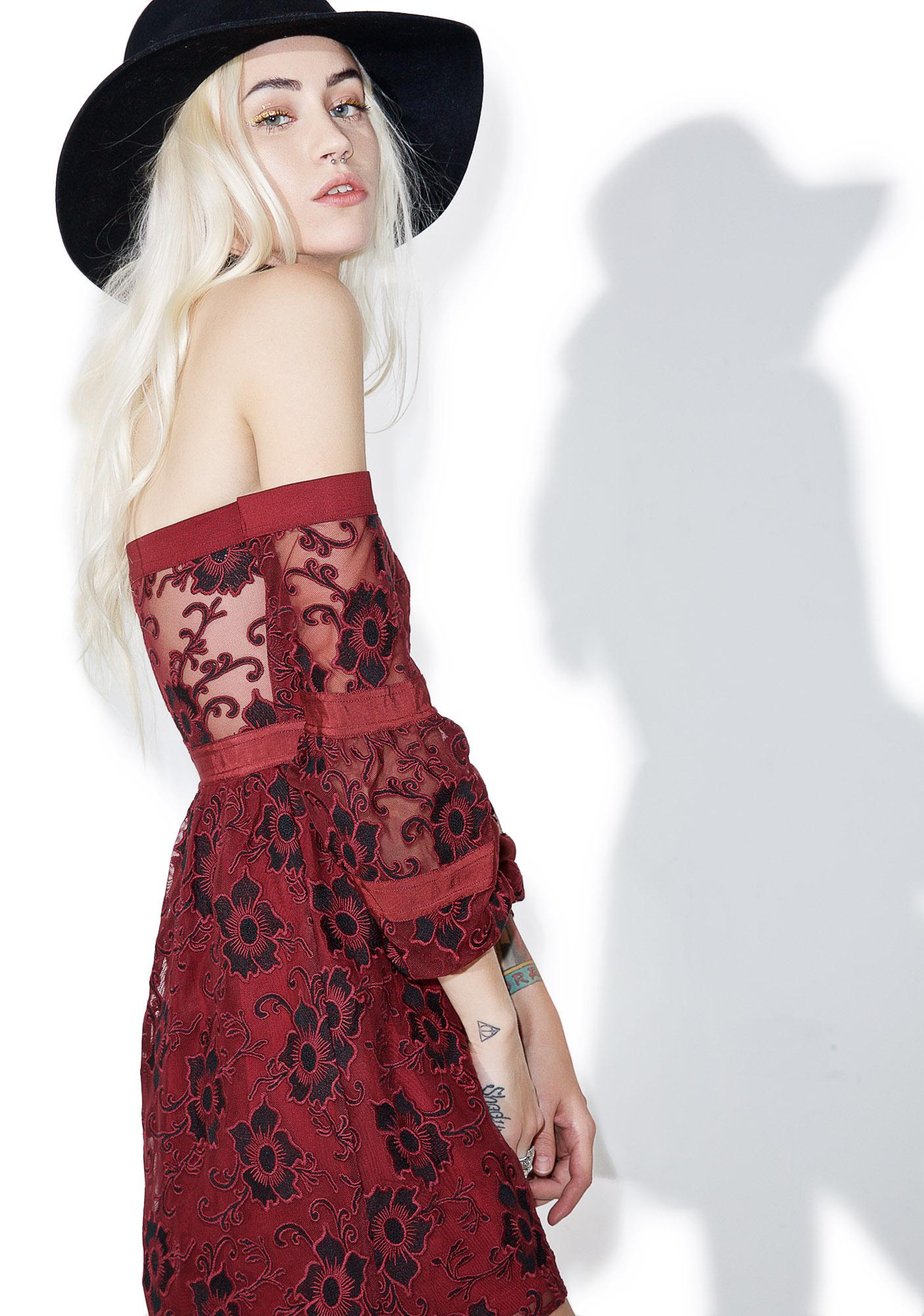 For Love & Lemons Burgundy Jolene Off-Shoulder Dress