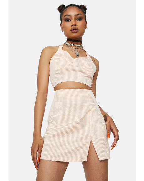 Baby Call Me L8r Gingham Mini Skirt Set