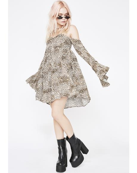 Wild Kitten Off Shoulder Dress