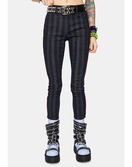 Punk You Up Striped Skinny Jeans
