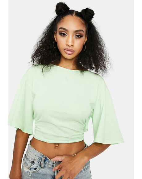 Lime Keep It Together Tie Crop Top