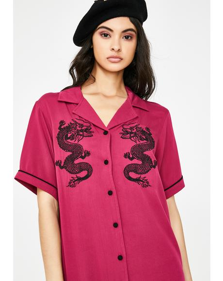 Red Dragon Shirt Dress