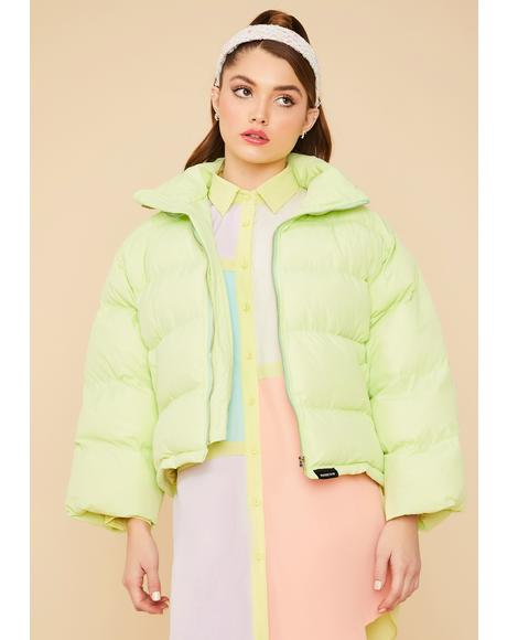 Lime Cuddle Bug Cropped Puffer Jacket