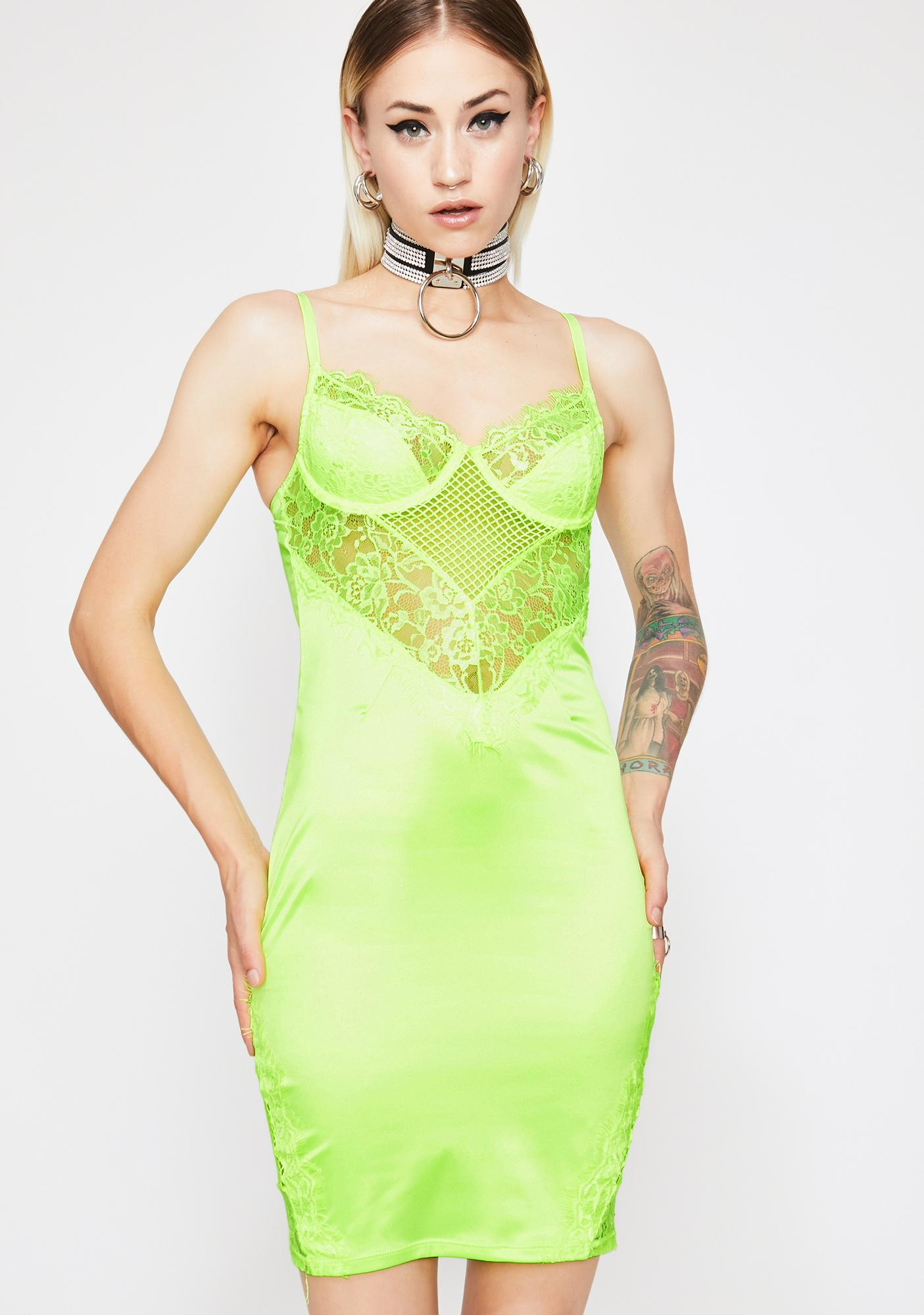 Lime Club Fever Lace Dress