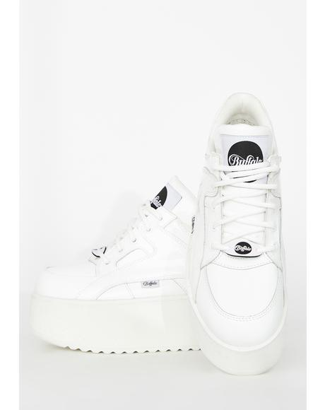 White Rising Towers Patent Sneakers
