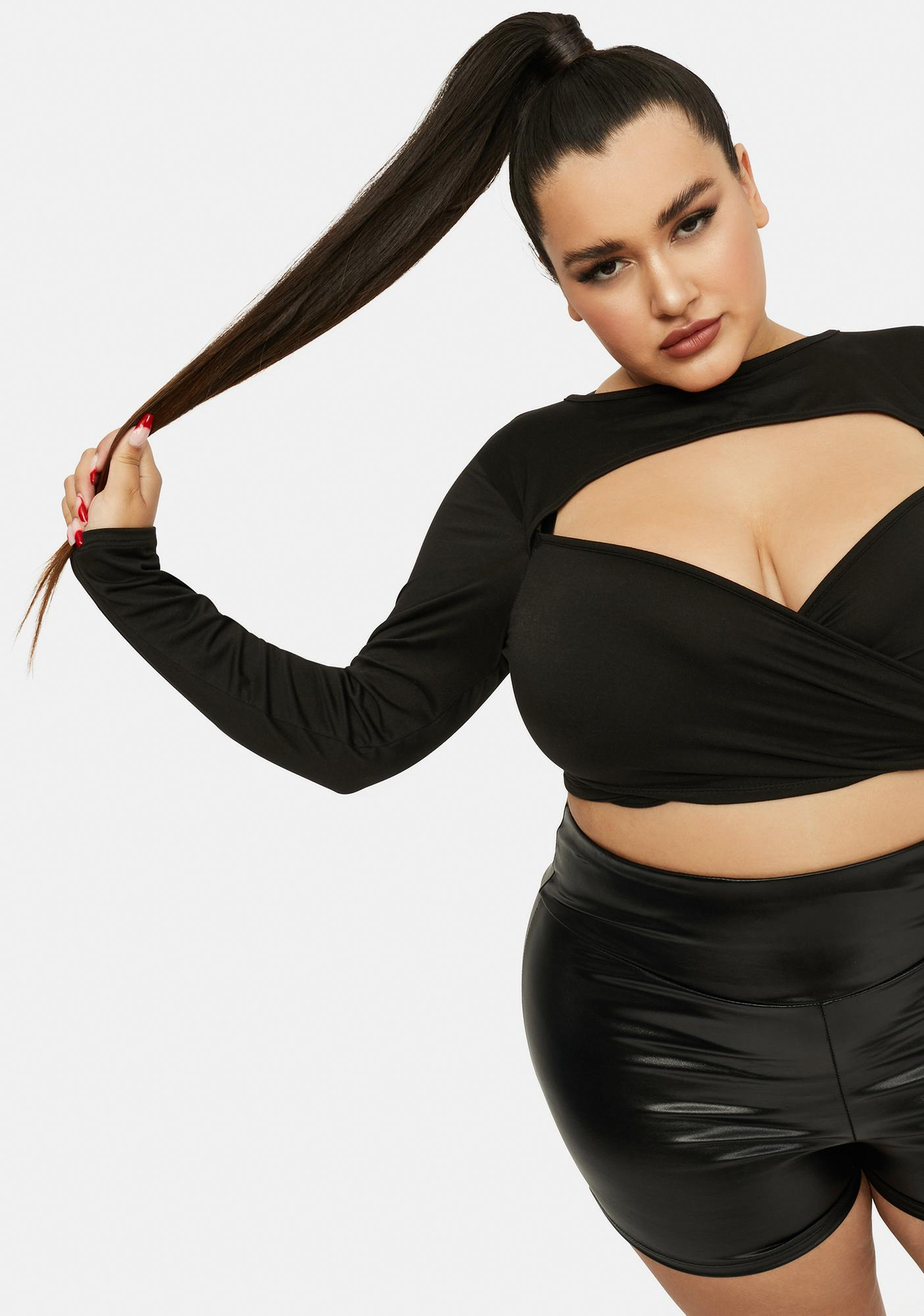 Forever Finer Things Cutout Shrug Wrap Top
