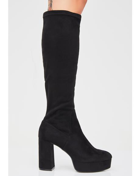 Nancy Suedette Platform Boots