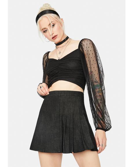 Noir Street Smarts Denim Pleated Skirt