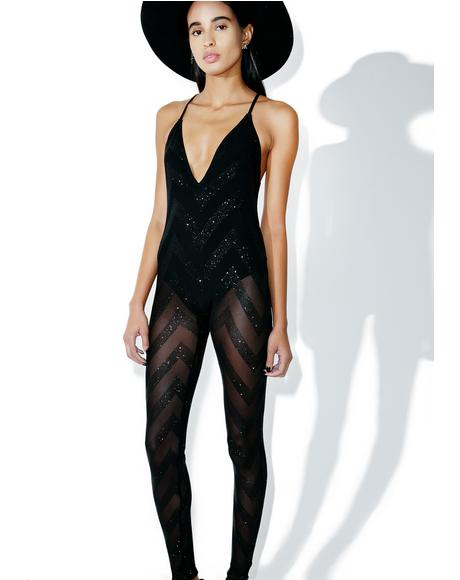 Plunge Glitter Mesh Catsuit