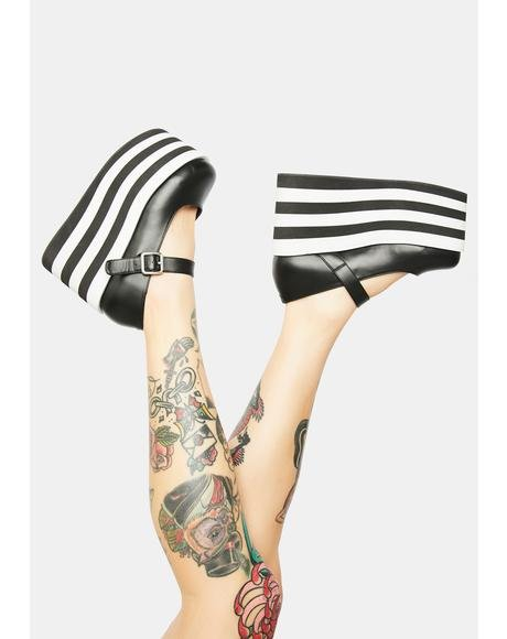 Emmyjane Striped Platform Mary Janes