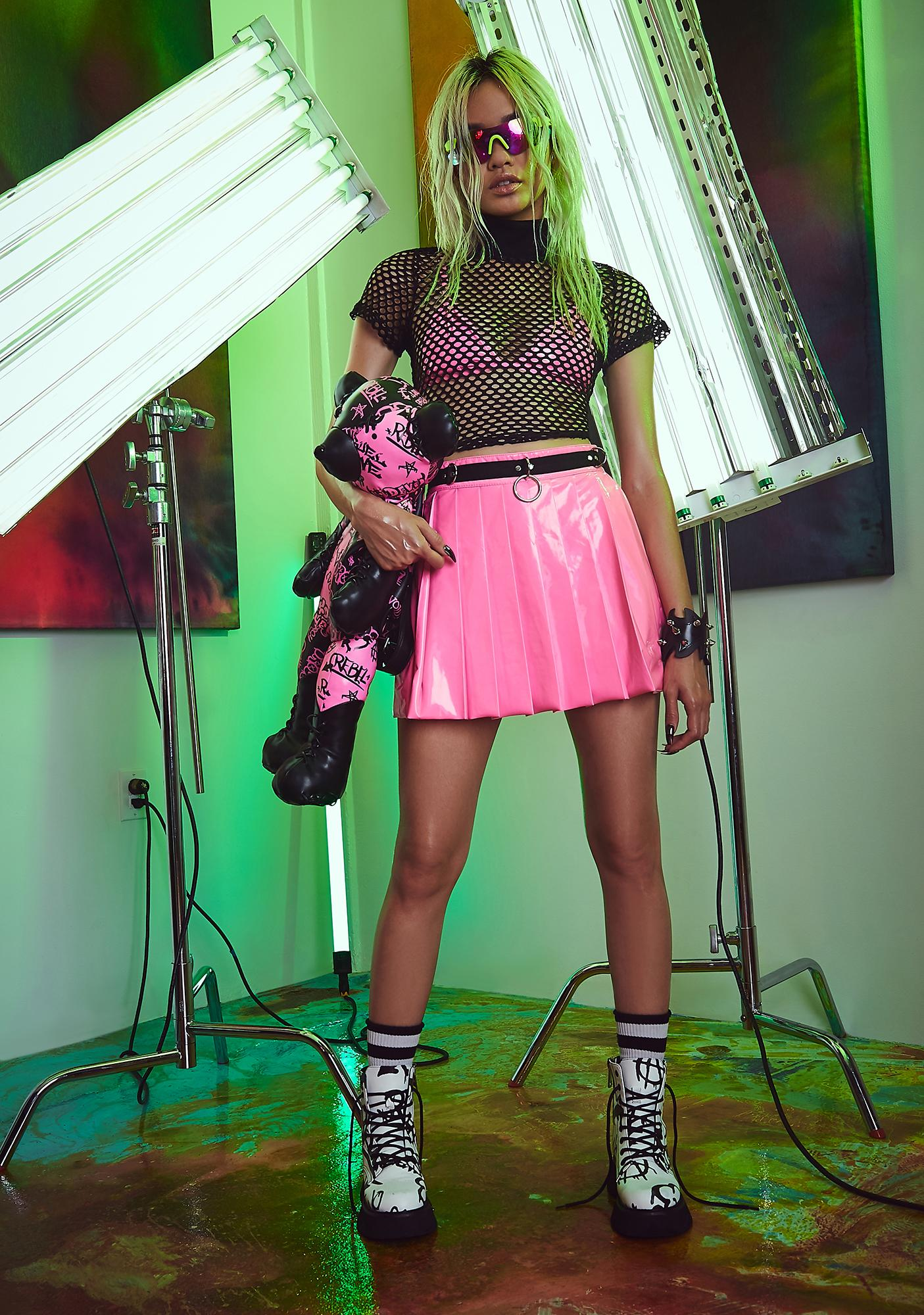 Current Mood Candy Spade Pleated Mini Skirt