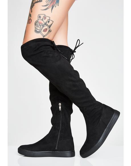 Tragic Hate Knee High Boots