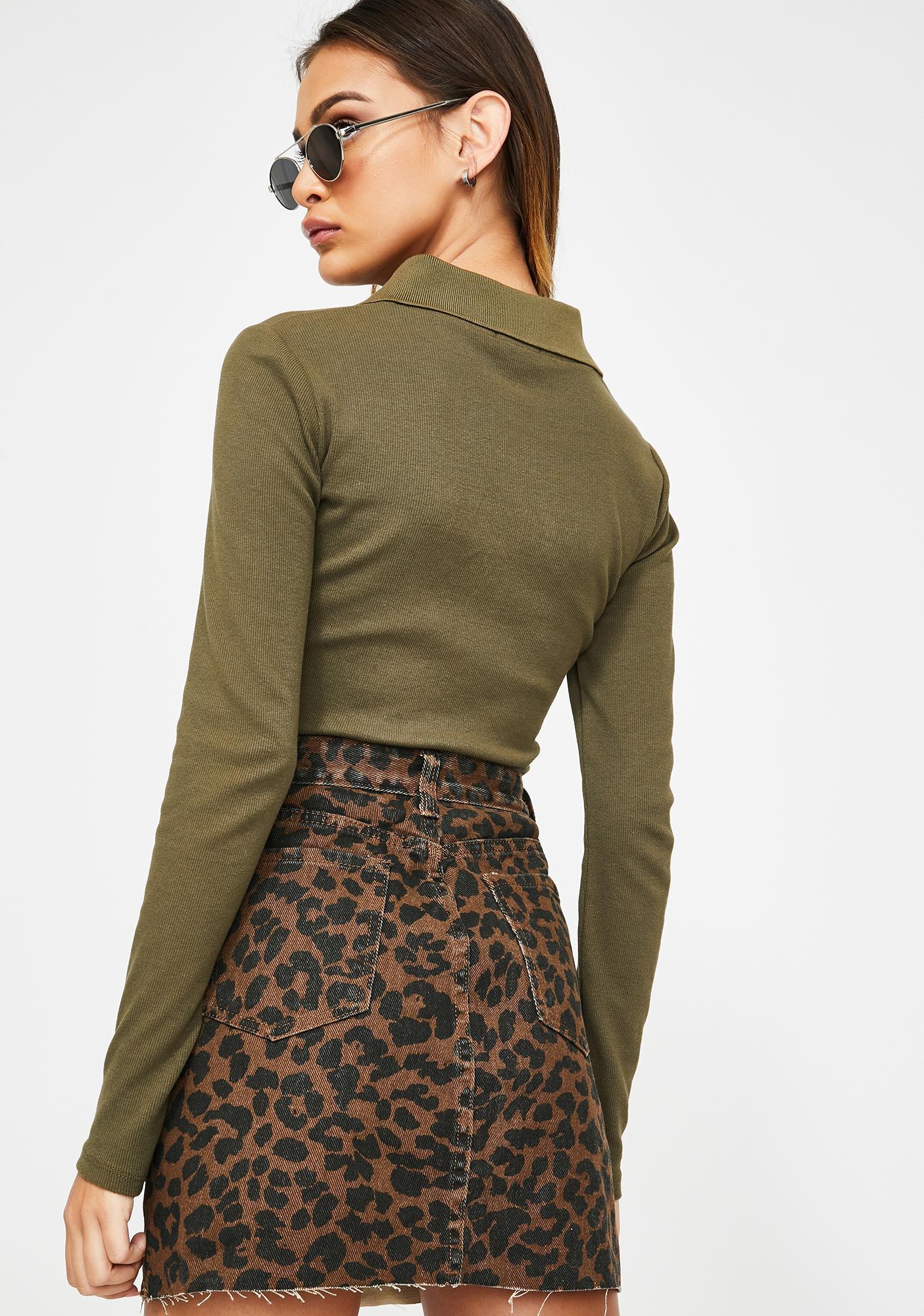 Momokrom Leopard Print Denim Skirt
