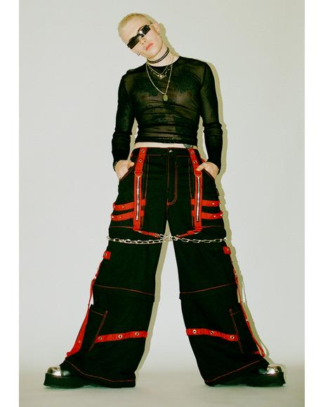 Black Red Chain And Zipper Pants