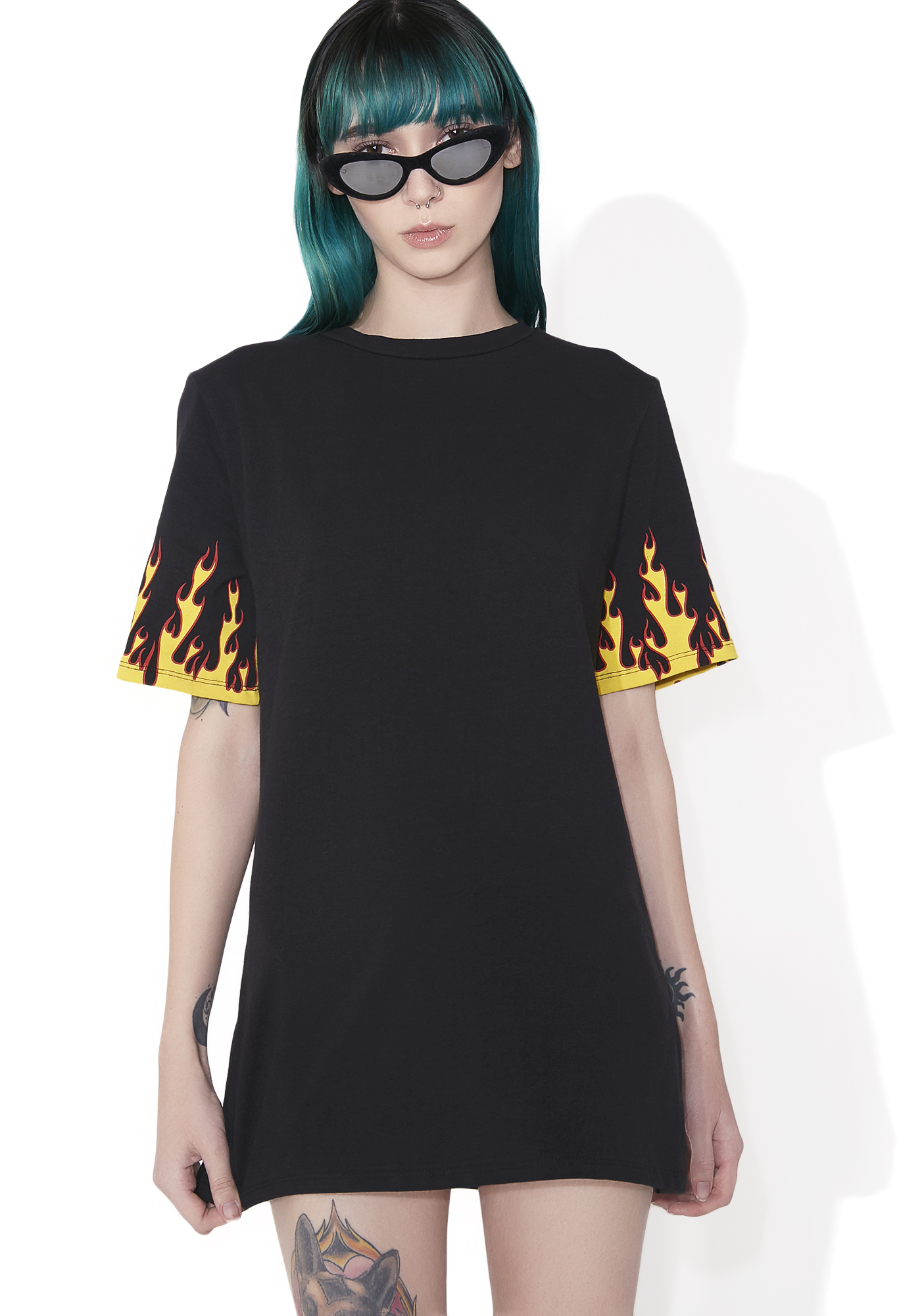 Black Short Sleeve Graphic Flames Tee